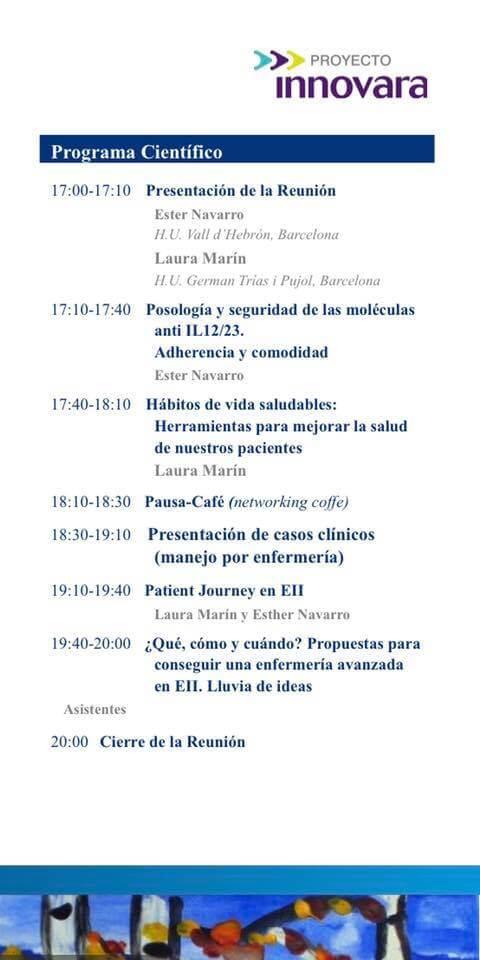 Programa de la I Jornada de enfermería catalana en EII